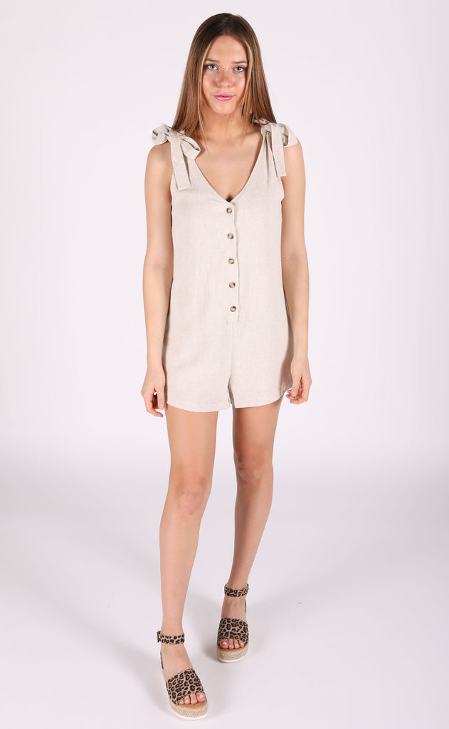 road trippin' button up romper - beige