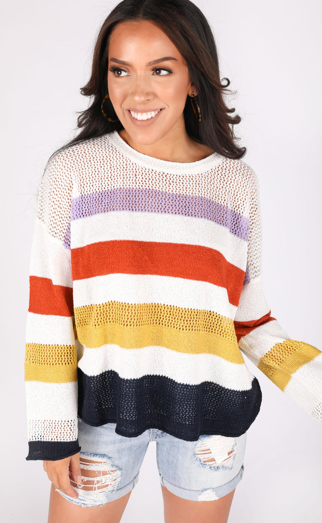 roam free striped sweater