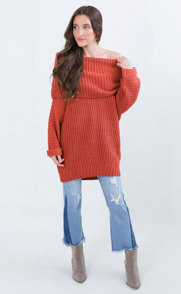 rock the boat oversized sweater - rust
