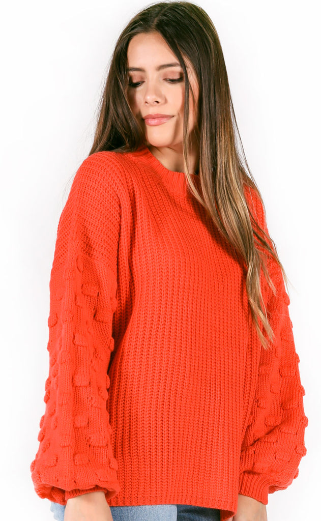 roll with knit textured sweater