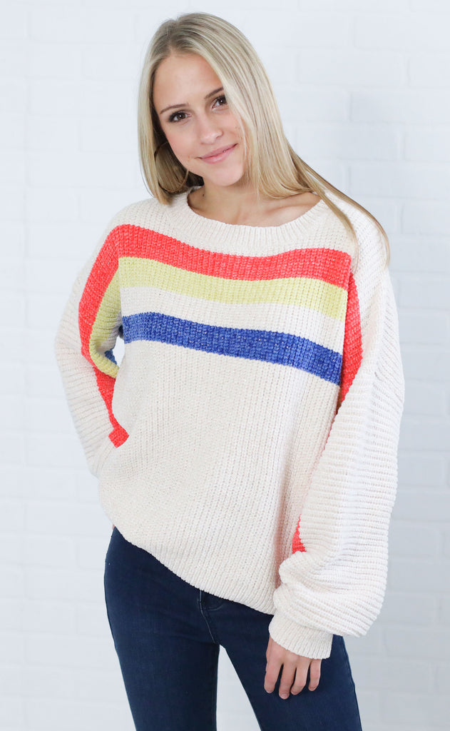 rooftop view striped sweater - cream