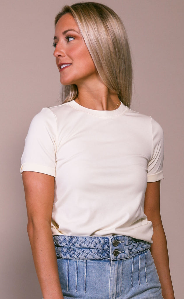 richer poorer: fitted tee - white sage