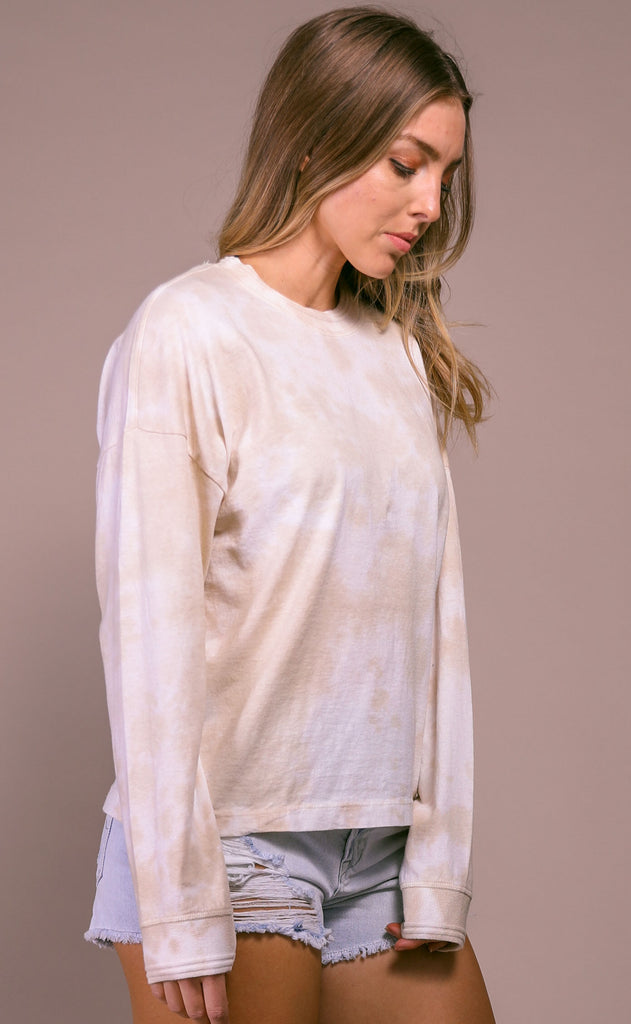 richer poorer: relaxed long sleeve pullover - washed out