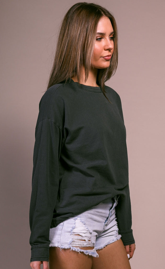 richer poorer: relaxed long sleeve pullover - stretch limo