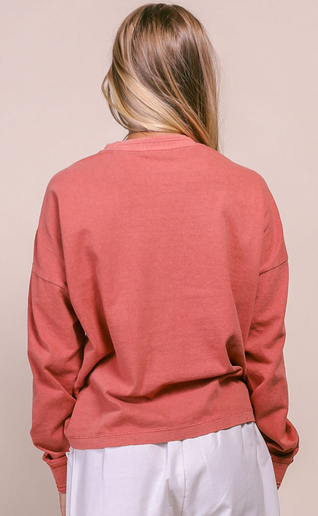 richer poorer: relaxed long sleeve pullover - summer cinnamon