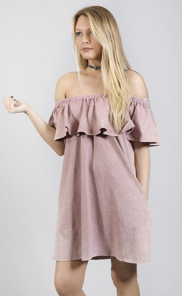 color of love off shoulder dress - purple