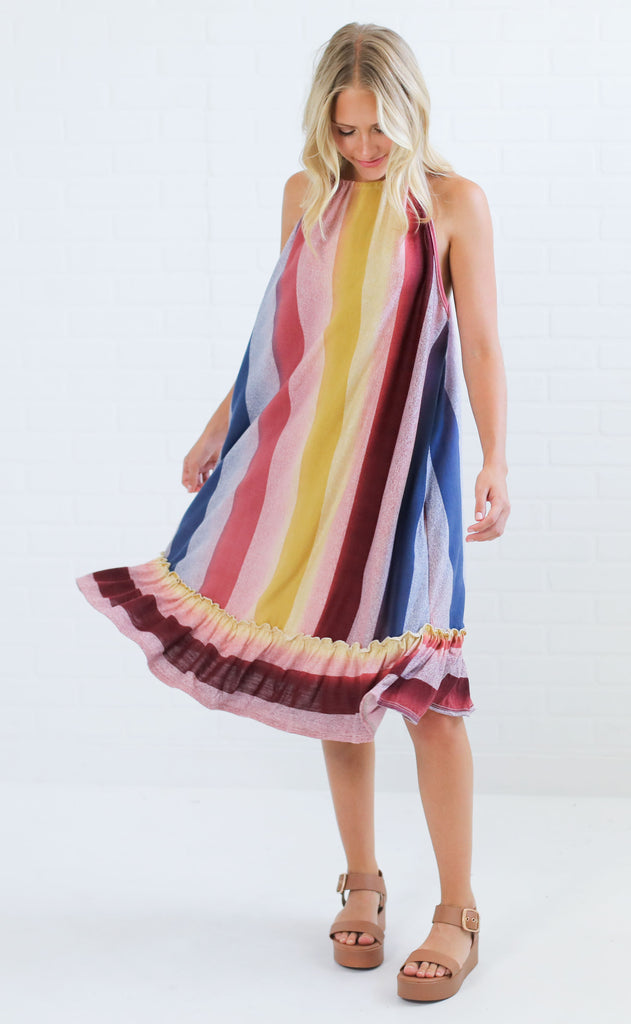 ruffled around striped dress