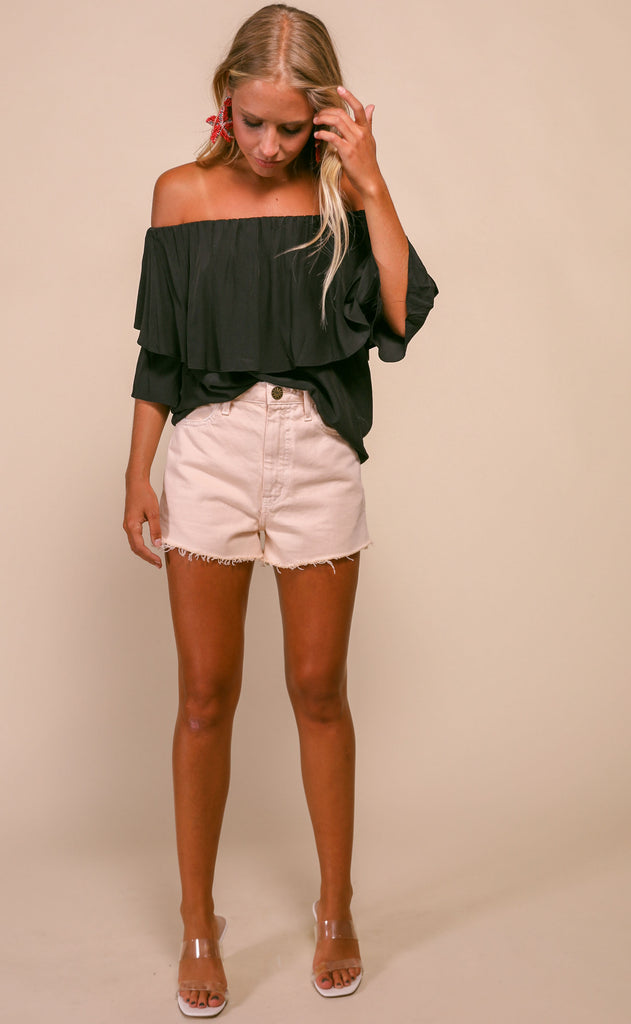 ruffled around off the shoulder top - black
