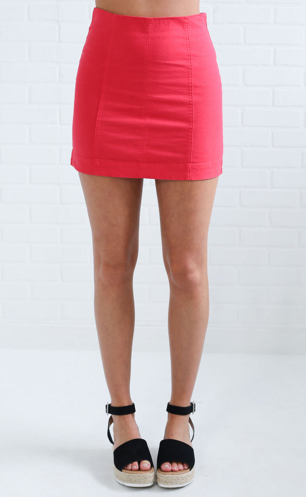 rumor has it mini skirt - red