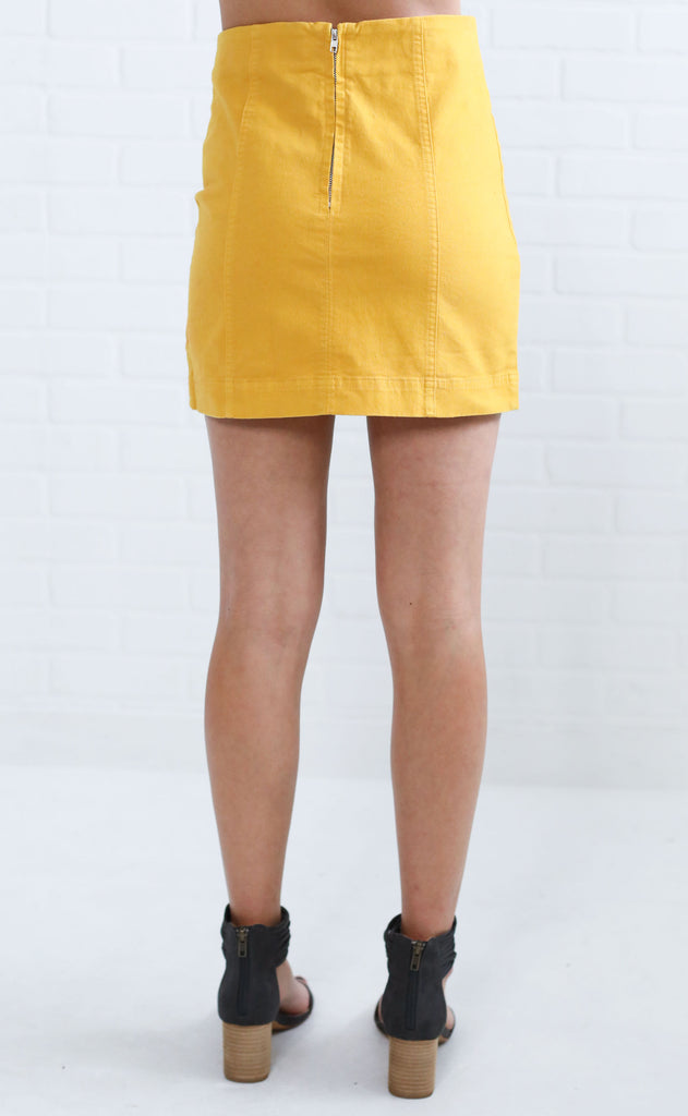 rumor has it mini skirt - mustard