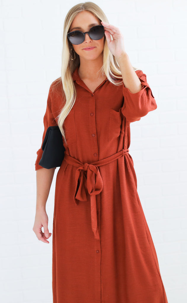 rustic romance button up dress