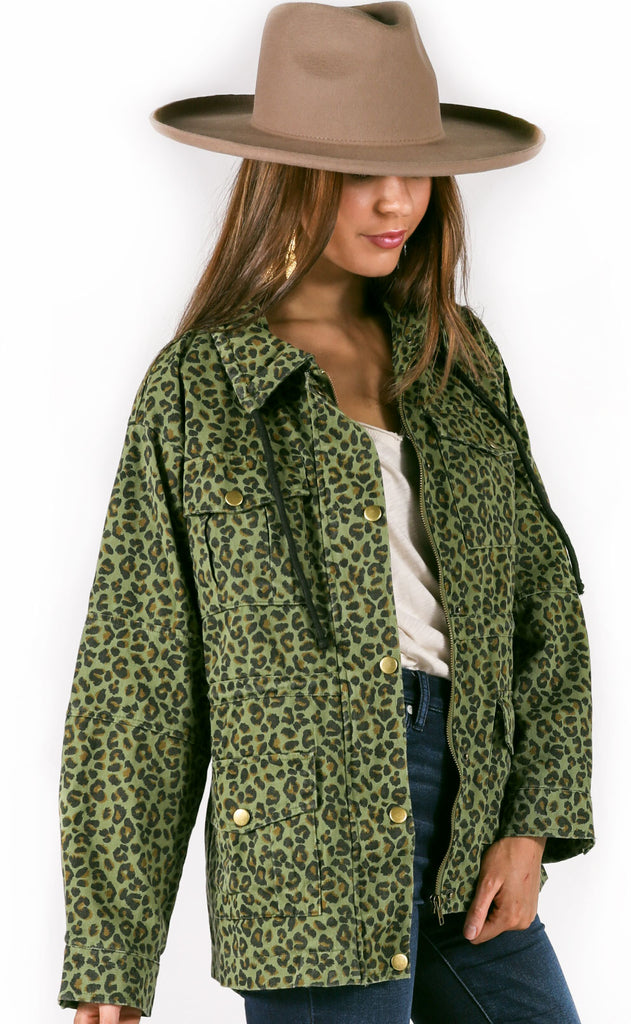safari leopard anorak jacket