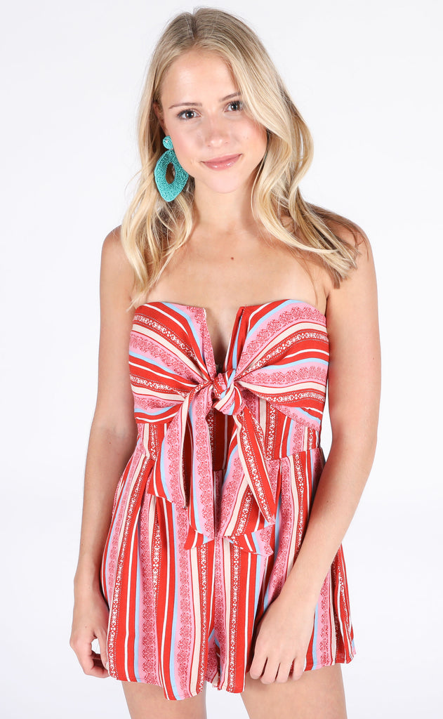 sahara printed romper - red stripe