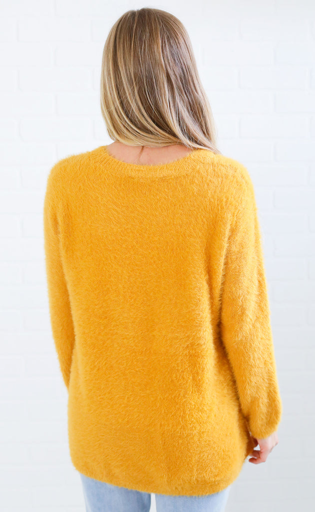 saturday fuzzy sweater - mustard