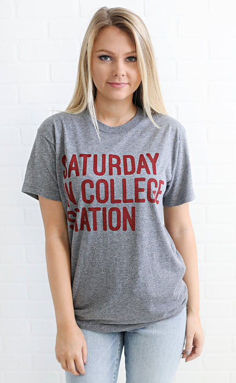 charlie southern: saturday in college station t shirt - grey