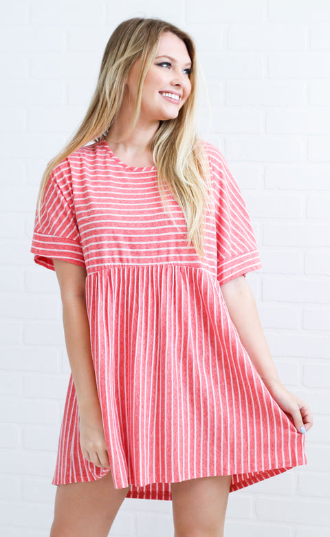 seas the day striped dress - pink