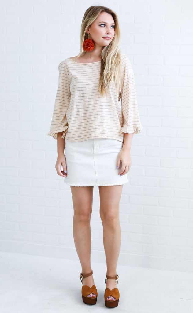 amuse society: seascape knit top - camel