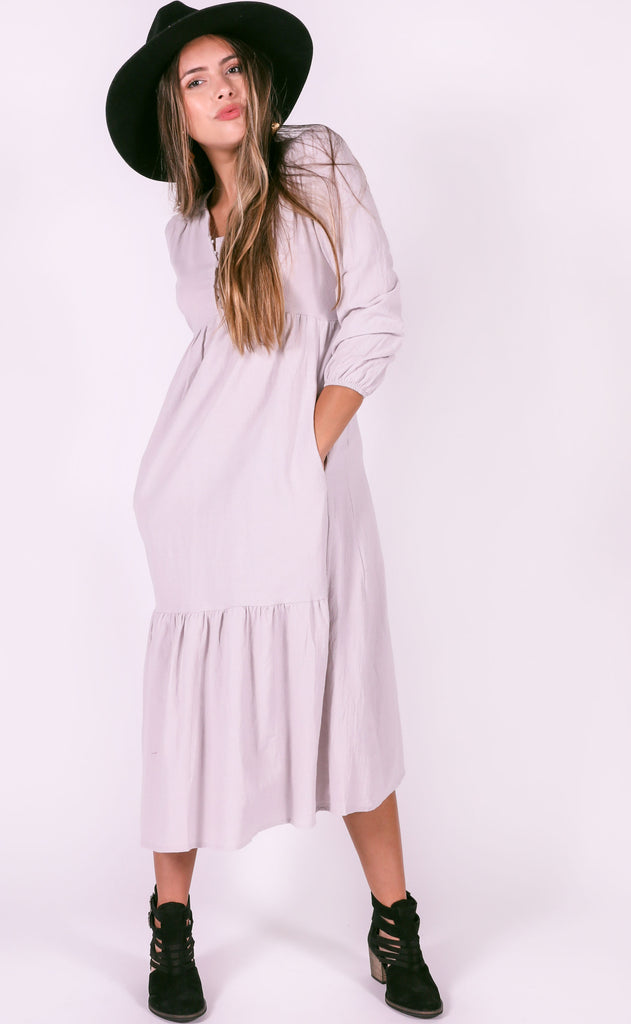 secret admirer midi dress - light grey