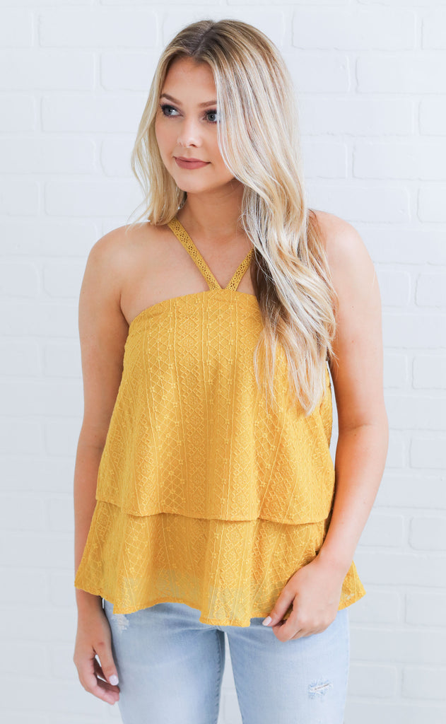 secret garden embroidered top - mustard