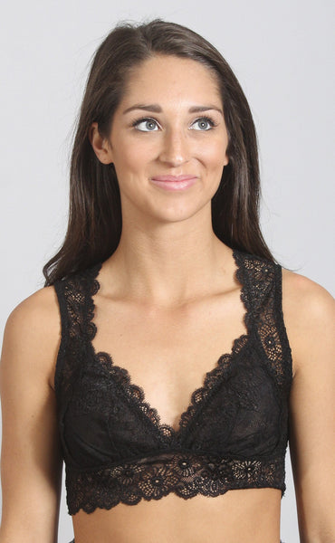 secret keeper lace bralette - black