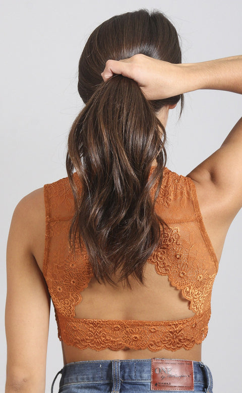 secret keeper lace bralette - rust