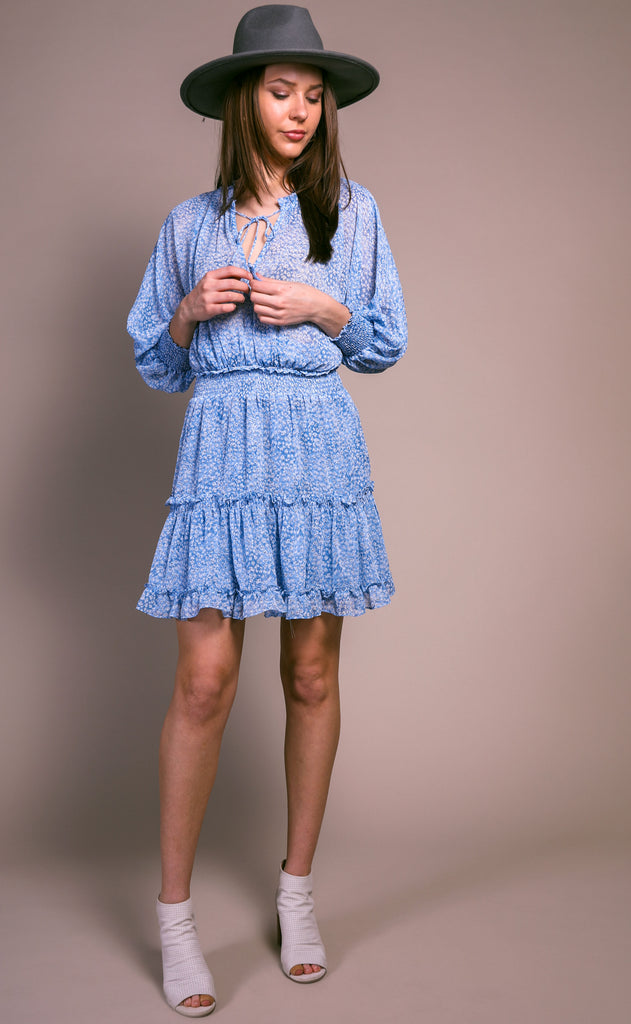 setting sun dolman ruffle dress - blue