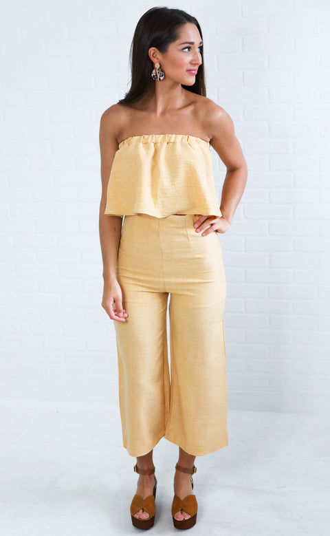 settle the score two piece set - mustard