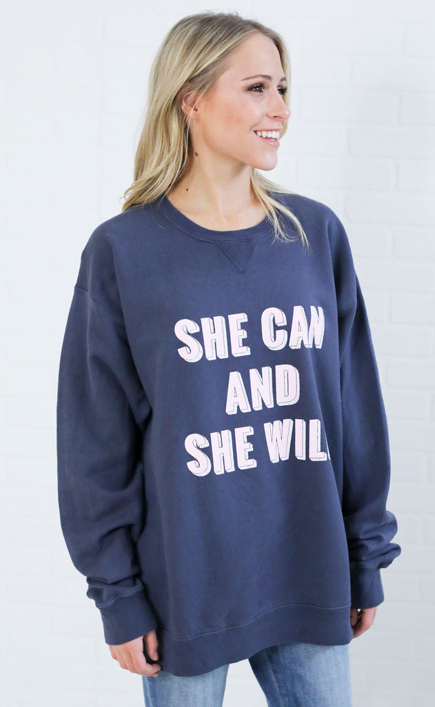 friday + saturday: she can and she will sweatshirt