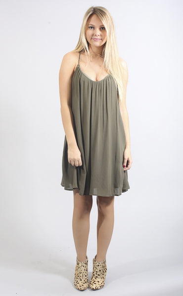 shift and shout tank dress - olive
