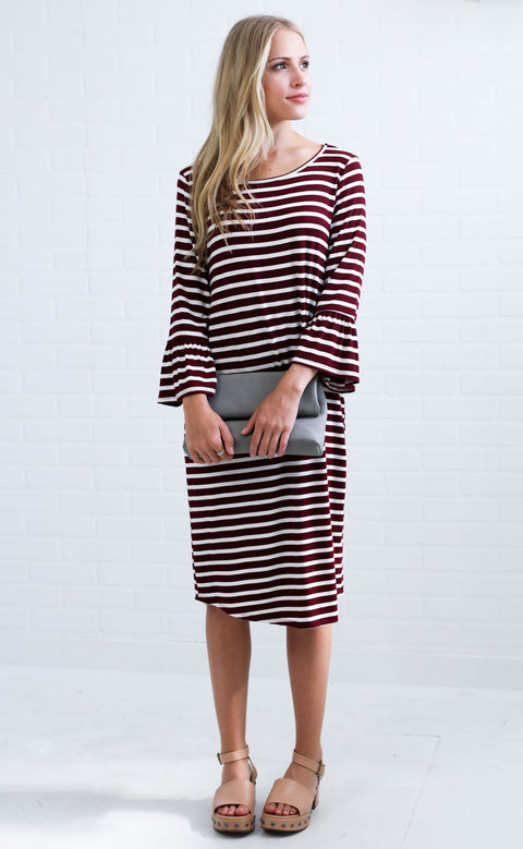 shift and shout striped dress - burgundy