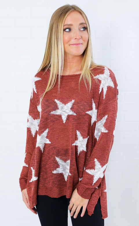 shine bright knit sweater - brick