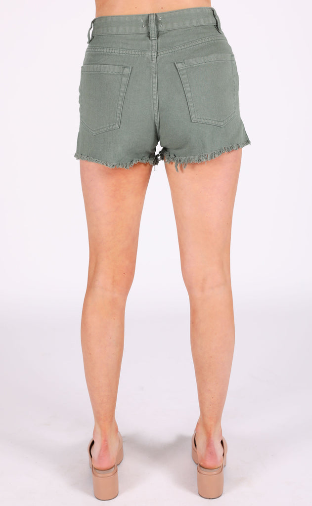 amuse society: shoreline denim shorts - sage