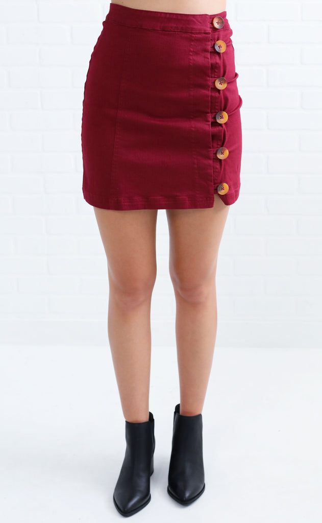 show me button up skirt - burgundy