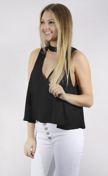 show me your mumu: casey collar top - black crisp