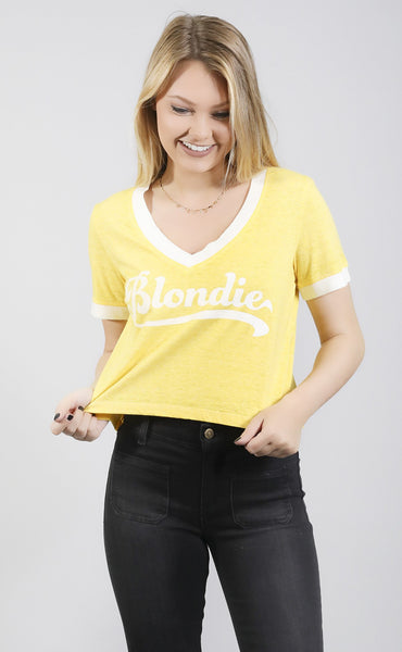 show me your mumu: kickball crop tee - blondie graphic