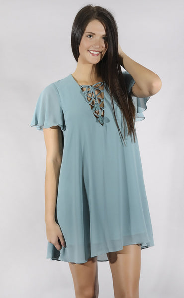 show me your mumu: kylie lace up dress - poolside chiffon