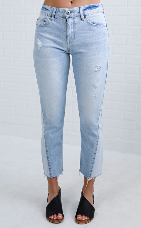 show off distressed jeans