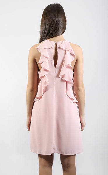 shuffle to the ruffle tank dress - blush