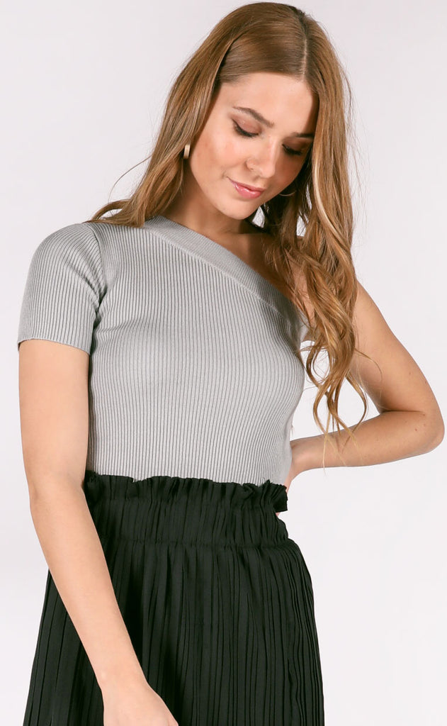 simple thing ribbed top - grey
