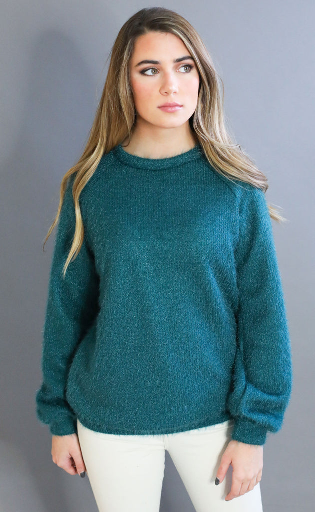 sit back knit sweater - dark teal