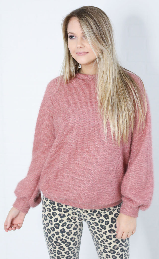 sit back knit sweater - mauve