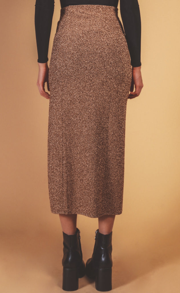 show me your mumu: miracle midi skirt - gold shimmy shine