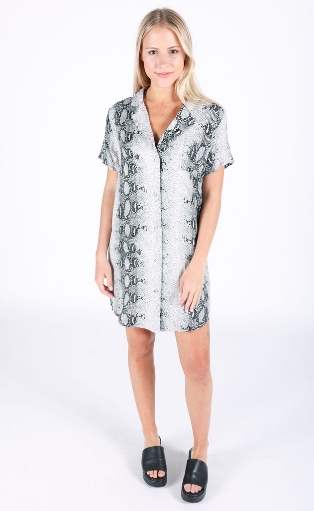 slither printed shirt dress