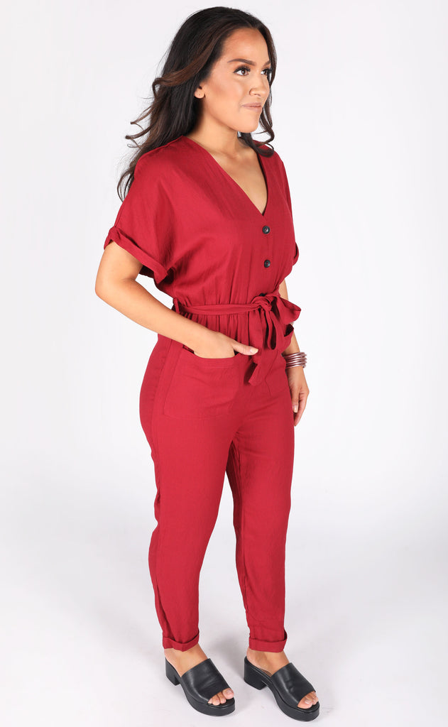 small town button up jumpsuit