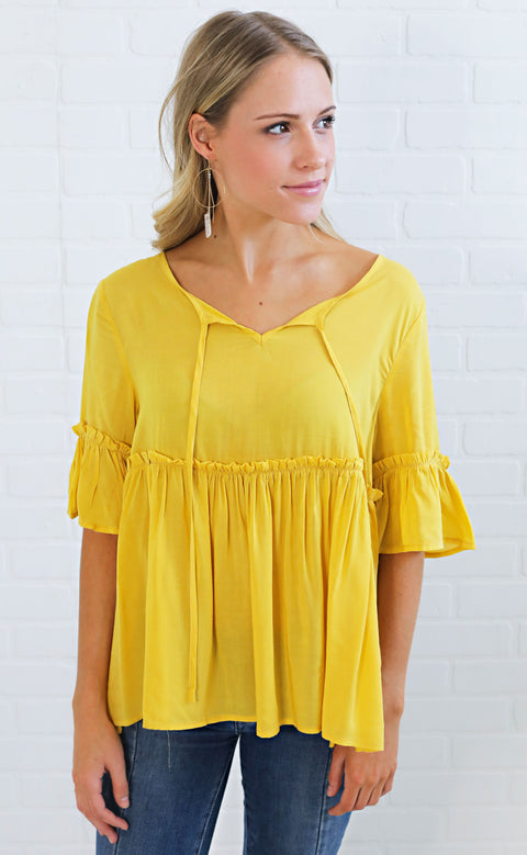 small town girl babydoll top - mustard