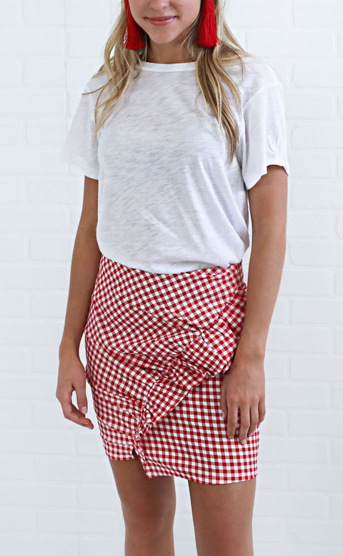 small town girl gingham skirt