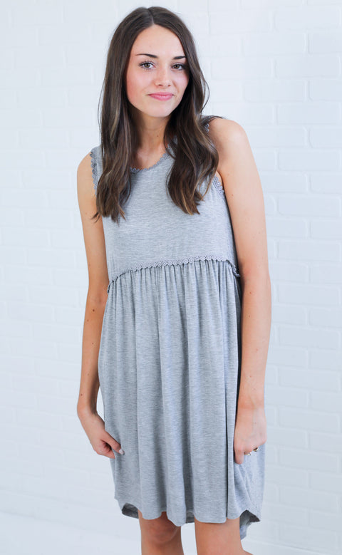 smock it to me tank dress - grey