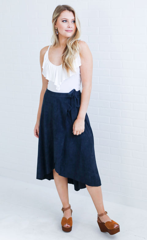 smooth sailing suede skirt