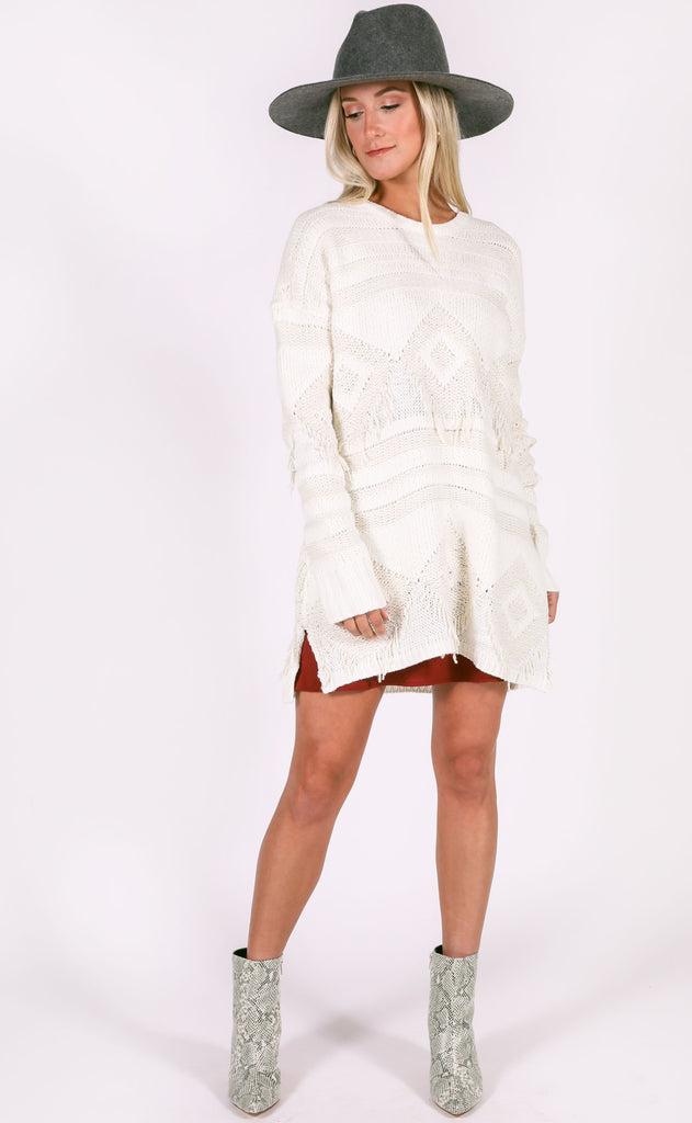 show me your mumu: canyon sweater - geo fringe cream knit