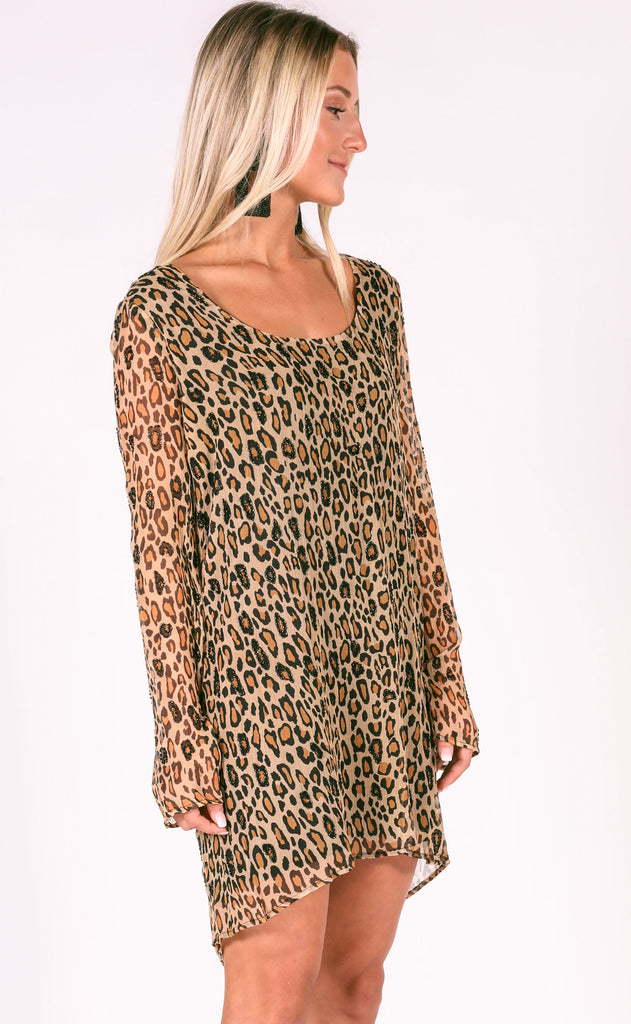 show me your mumu: nakita beaded dress - cheetah fever beading